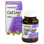 Health Aid Cod Liver Oil 1000mg Vegetarian Capsules 30
