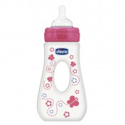 Chicco Μπιμπερό Ροζ Wellbeing Με Λαβή BPA Θηλή Σιλικόνη 4m+ 240ml