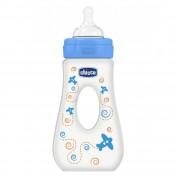 Chicco Μπιμπερό Μπλε Wellbeing Με Λαβή BPA Θηλή Σιλικόνη 4m+ 240ml