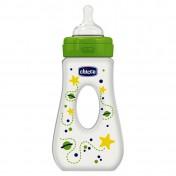 Chicco Μπιμπερό Πλαστικό Πράσινο Wellbeing με λαβή 0 BPA και Θηλή Σιλικόνης 4+ 240ml