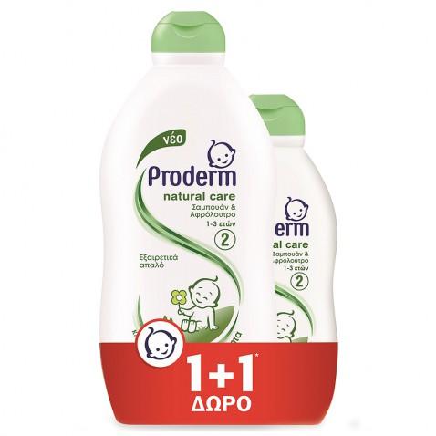 Proderm Σαμπουάν & Αφρόλουτρο Natural Care 400ml + 200ml ΔΩΡΟ