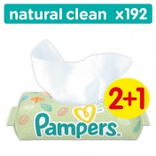 Pampers Baby Wipes Natural Clean Μωρομάντηλα Οικονομική Συσκευασία 2+1 ΔΩΡΟ 192 Τμχ