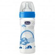 Chicco Well Being Μπιμπερό Πλαστικό Μπλε με Θηλή Σιλικόνης 2m+ 250ml