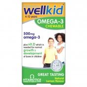 Vitabiotics Wellkid Omega-3 Chewable 500mg Lemon από 4-12 Ετών 60caps