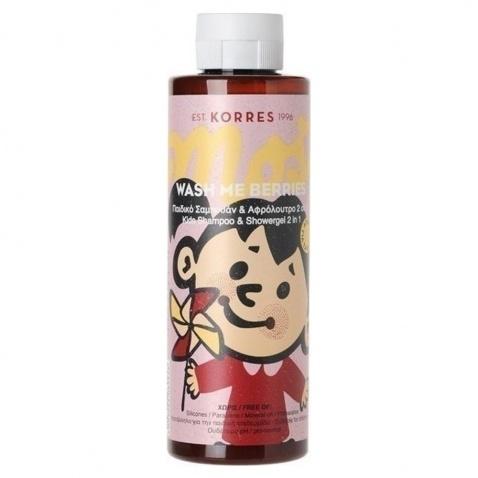 Korres Wash Me Berries Παιδικό Σαμπουάν & Αφρόλουτρο 2 σε 1 για Κορίτσια 250 ml