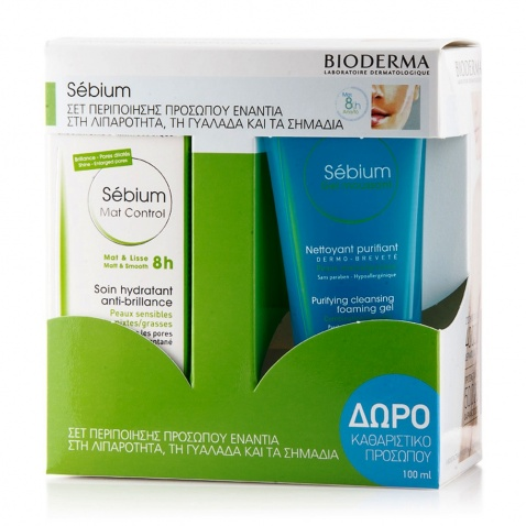 Bioderma Sebium Mat Control 30ml & ΔΩΡΟ Sebium Gel Moussant 100ml 55518