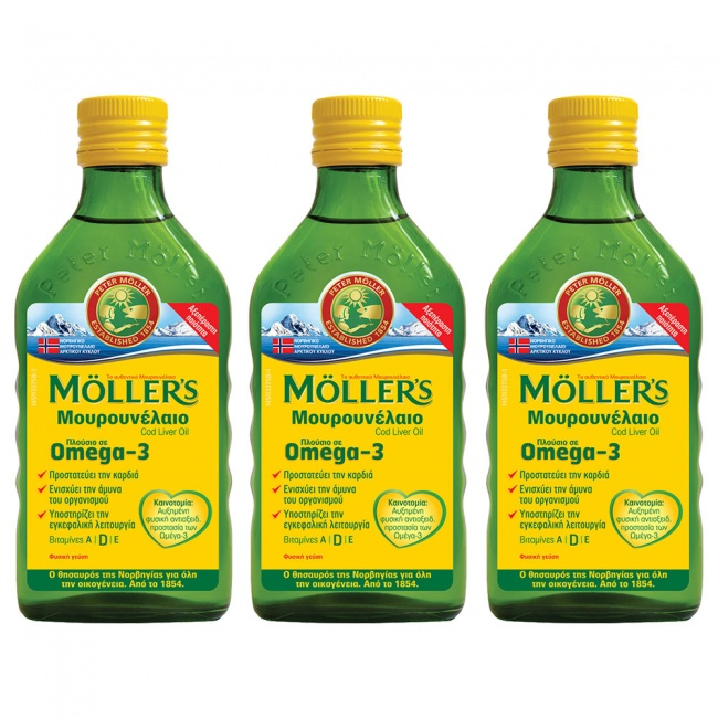 Moller's 3 (Τρία) Μουρουνέλαιο (Cod Liver Oil) Natural Flavour 250ml