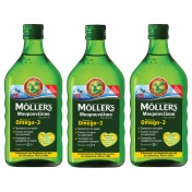 Moller's 3 (Τρία) Μουρουνέλαιο (Cod Liver Oil) Lemon Flavour 250ml