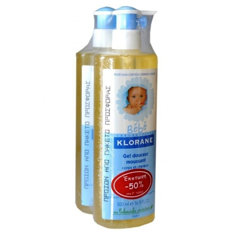 Klorane Bebe Gel Douceur Moussant 500ml Προσφορά το 2ο Προϊόν -50% 2x500ml