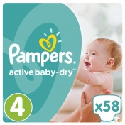 Pampers Active Baby Dry Jumbo Pack No 4 Maxi 8-14Kg 58τμχ