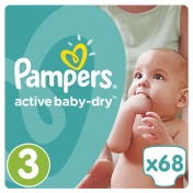 Pampers Active Baby Dry Jumbo Pack No 3 Midi 5-9 Kg 68τμχ