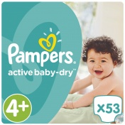 Pampers Active Baby Dry Jumbo Pack No 4+ Maxi Plus 9-16Kg 53τμχ