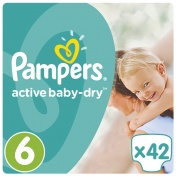 Pampers Active Baby Dry Jumbo Pack No 6 Junior 15+Kg 42τμχ