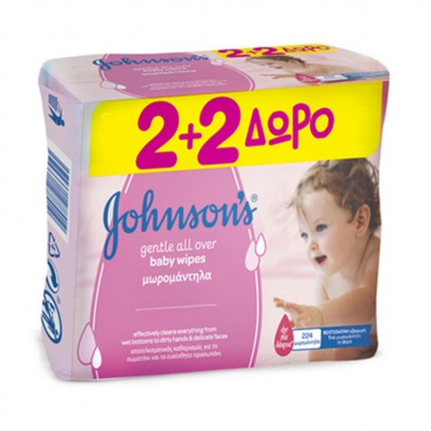 Johnson & Johnson Baby Gentle Allover Cleansing Wipes 56τμχ 2+2 ΔΩΡΟ (224 μωρομάντηλα)
