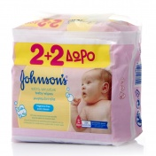Johnson & Johnson Baby Extra Sensitive Cleansing Wipes 56τμχ 2+2 ΔΩΡΟ (224 μωρομάντηλα)