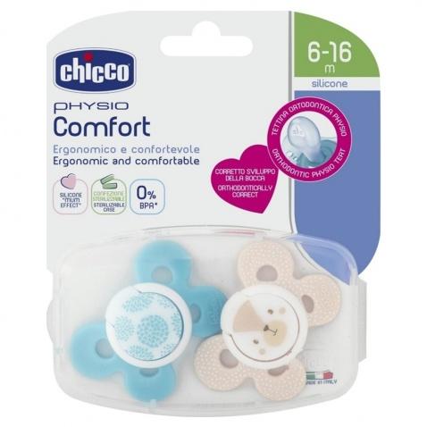 Chicco Πιπίλα Σιλικόνης Physio Comfort Σιέλ - Μπεζ 6-16m Με Θήκη 2τμχ αρχική   μαμα   μωρο   αξεσουαρ μωρου   πιπίλες   κρίκοι οδοντοφυΐας