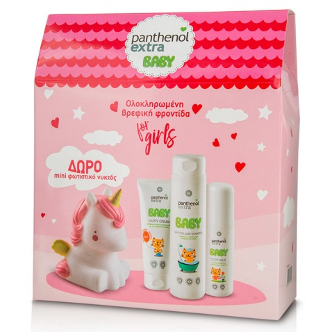 Panthenol Extra Promo Pack Baby Kit for Girls – Shower & Shampoo 300ml, Body Milk 100ml & Nappy Cream 100ml & ΔΩΡΟ Mini Φωτιστικό Νυκτός Μονόκερος