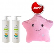 Panthenol Extra Promo Pack - 2 τεμάχια Baby 2in1 Shampoo & Bath 1lt και ΔΩΡΟ Φωτεινό Μαξιλαράκι Ροζ