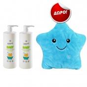Panthenol Extra Promo Pack - 2 τεμάχια Baby 2in1 Shampoo & Bath 1lt και ΔΩΡΟ Φωτεινό Μαξιλαράκι Μπλε