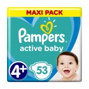 Pampers Active Baby No 4+ Maxi Pack 10-15 kg 53τμχ