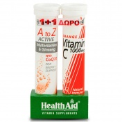 Health aid Promo Pack 1+1 A to Z Active Multivitamins & Ginseng with CoQ10 20eff.tabs με ΔΩΡΟ Vitamin C 1000mg 20eff.tabs