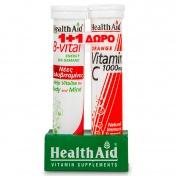 Health aid Promo Pack 1+1 B-Vital 20eff.tabs με ΔΩΡΟ Vitamin C 1000mg 20eff.tabs