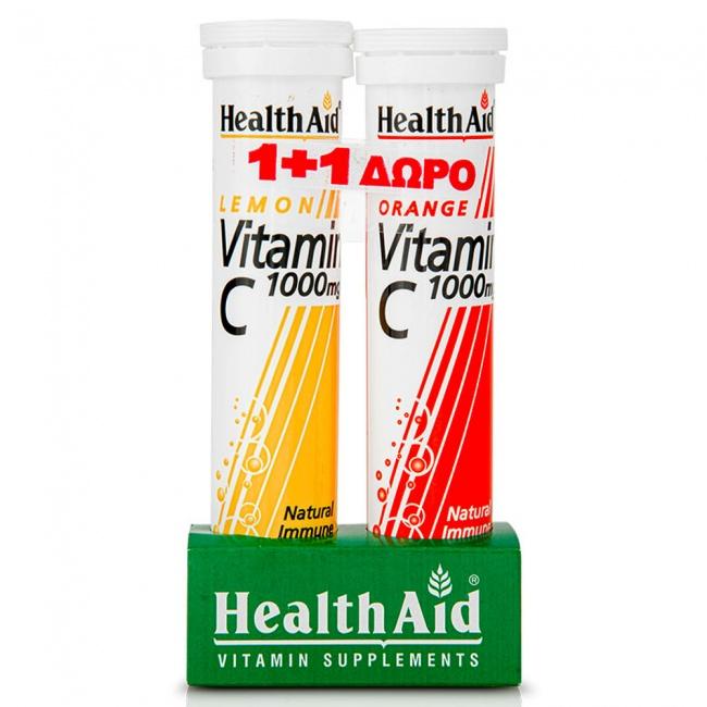 Health aid Promo Pack 1+1 Vitamin C 1000mg Lemon 20 Eff Tabs με ΔΩΡΟ Vitamin C 1000mg Orange 20 Eff Tabs