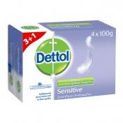 Dettol Σαπούνι Sensitive 4x100gr 3+1 ΔΩΡΟ