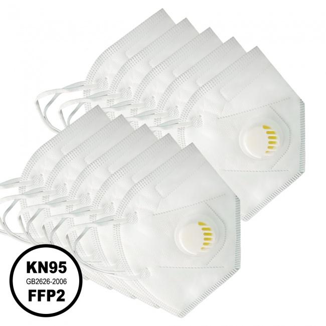 Μάσκα KN95 Υψηλής Προστασίας FFP2 με Βαλβίδα Εκπνοής 10τμχ