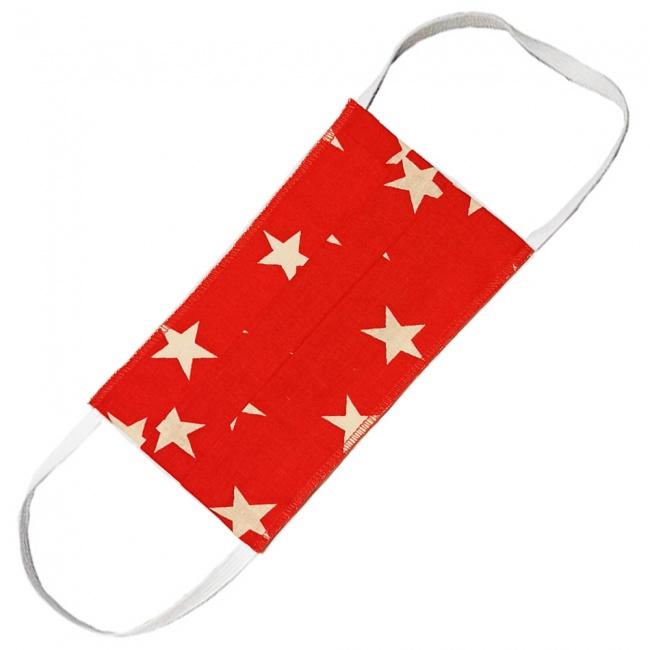 Hand M Μάσκα Πολλαπλών Χρήσεων Υφασμάτινη 100% Βαμβακερή 2 Στρώσεων Κόκκινη με Λευκά Αστέρια 1τμχ.
