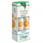 Power Health Vitamin C 1000mg + Vitamin D3 1000iu με Στέβια 24 Eff.tabs & ΔΩΡΟ Vitamin C 500mg 20 Eff.tabs
