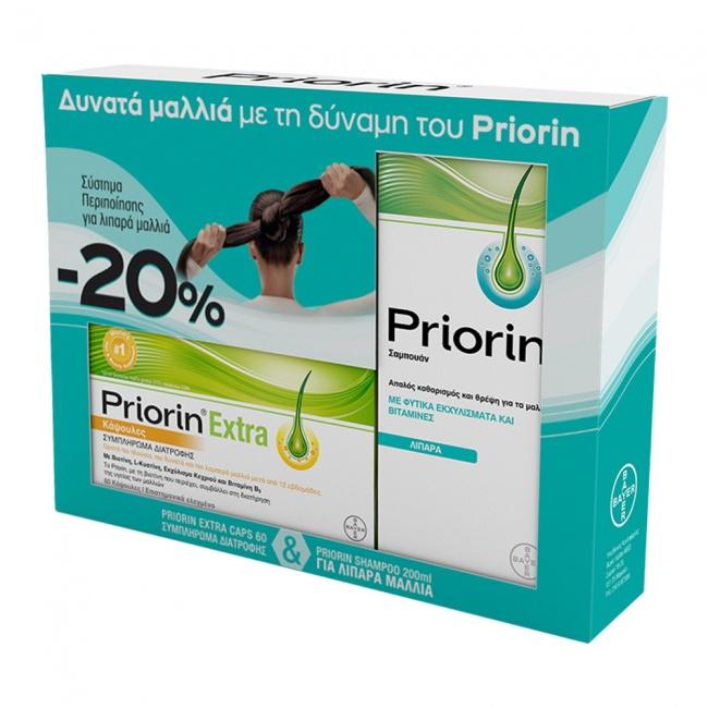 Priorin Extra 60caps & Σαμπουάν για Λιπαρά Μαλλιά 200ml - Promo Pack -20%
