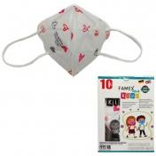 Famex Mask Παιδική Μάσκα Υψηλής Προστασίας FFP2 NR Pink Hearts 10τεμ.